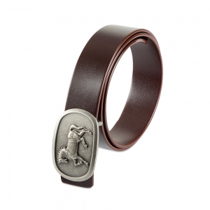 Rohit Bal Horse Buckle Blood Red Italian Leather Belt (32/34)