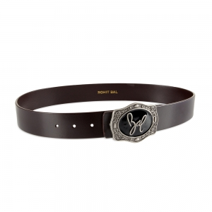 Rohit Bal Signature Buckle Coffee Brown Italian leather Belt (32/34)