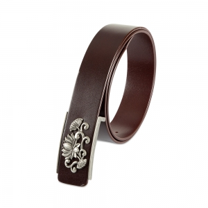 Rohit Bal Floral Buckle Blood Red Italian Leather Belt (32/34)