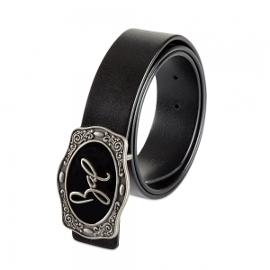 Rohit Bal Signature Buckle Black Italian leather Belt (32/34)
