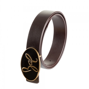 Rohit Bal Signature Logo Coffee Brown Italian Leather Belt (32/34)
