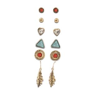 Lesk Set of Six Antique  Earrings