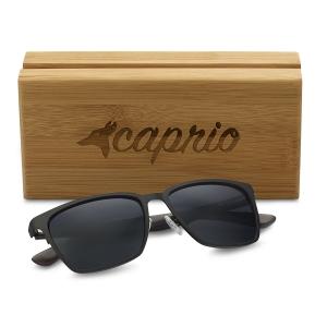 Caprio Unisex Wooden Rectangular Sunglasses