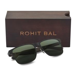Rohit Bal Unisex Titanium & Wood Square Sunglasses