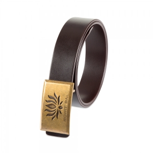 Rohit Bal Signature Lotus Buckle Coffee Brown Italian Leather Belt (32/34)