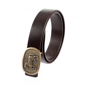 Rohit Bal Horse Buckle Coffee Brown Italian Leather Belt (32/34)